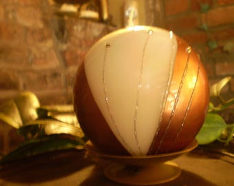 Luxury German Christmas Diamante,Glitter Copper & Cream Ball Candle plus Candle Stand,Slow Burning,Natural Plant Wax