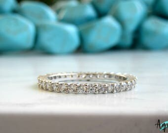 Full Eternity  Band/ Wedding Band / 2mm Eternity Ring /Silver Wedding Band/ Sterling Silver Stacking Ring/ Stackable Ring/ Stacking Ring/