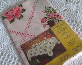 NOS- PINK Floral Tablecloth