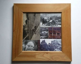 Picture in collage, vintage mountain themed.