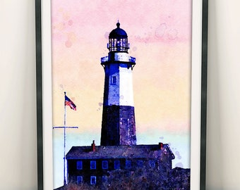 Lighthouse Painting, Ocean Art, Lighthouse Print, Lighthouse Decor, Home Decor, Wall Art Decor, New York Marine, Coastal Wall Art (N413)