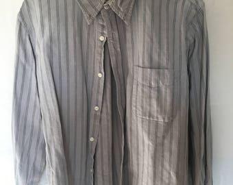 90's men's large gray striped button down shirt