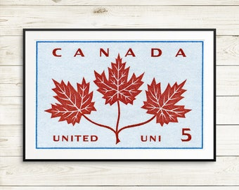 Canadian flag art, canada posters, canada wall art, canadian art prints, canada maple leaves, vintage canadiana, canada postage stamp art
