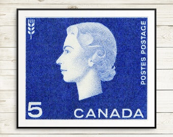 P065 Queen Elizabeth, Canada Stamp Art, Queen Stamp, Blue Queen Stamp, Wheat Art, fine art etching, fine art giclee print, giclee poster art