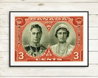 King George VI portrait, Queen Elizabeth stamp, Canada royal visit, large wall art set, vintage canada poster set, Ottawa Canada posters