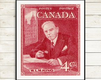 Mackenzie King, Prime Minister Canada, Canadian art, canada poster, vintage canadian prints, canada decor, canadian history, classroom decor