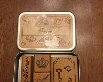 Bonjour Rubber Stamp Set of 4 in Tin Case