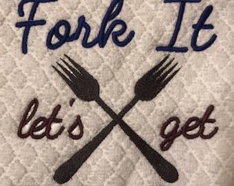 Embroidered kitchen towels, Gork it lets get take out, kitchen decor,