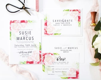 Susie + Marcus Sample Invite Suite | Floral Wedding Invitation Set | Modern Calligraphy Wedding Invite | Wedding Stationery | Invitation Set