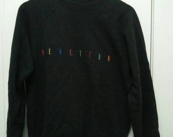 Rare Vintage UNITED COLORS Of BENETTON Spell Out Sweatshirt Size 46