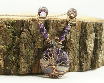 Tree of life necklace Amethyst, copper and brass