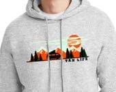 Vanlife Hoodie.  Full front print on an ash grey or white preshrunk Hoodie.