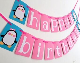 Penguin birthday banner