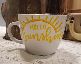 Hello Sunshine hand painted coffee mug