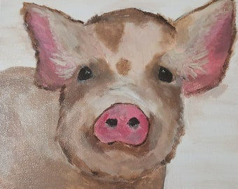 Spotted Pig Art - Acrylic Painting - Clearance