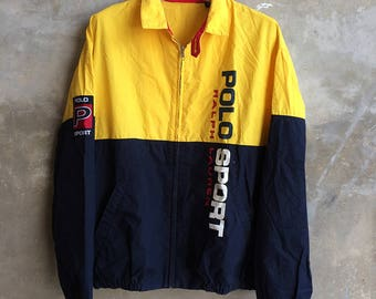 Vintage Polo Sport Ralph Lauren Spell Out Two Color Jacket Size M