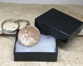 1963 55th birthday old penny coin keyring-  predecimal