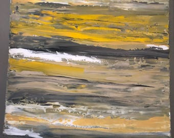 """Original abstract painting on canvas,  yellow, gray, white """"Simplicity"""""""