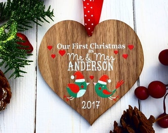 Our first Christmas ornament, First Christmas as Mr and Mrs, Couples Christmas ornament,  Couples gift, Married Christmas decoration 11CD
