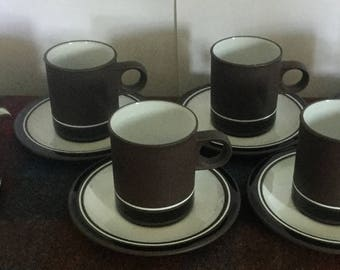 Vintage Hornsea England Vitramic Contrast  5 x Coffee cups