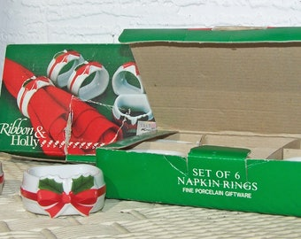 12 Ribbon & Holly Napkin Rings by Mt. Clemens Pottery, Original Boxes, 1986