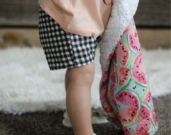 Red Gingham or Black Gingham Shorts with Pleat