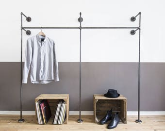 open wardrobe - clothes rack - clothes stand - steel pipe - coat stand - clothing rack - 2x DUO HIGH - black galvanized