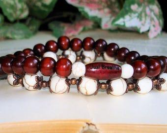 Just Breathe Bracelet Stacking Stretch Yoga Bracelet Duo, Rosewood Mala Beads, Copper Healing Yoga Jewelry, Gemstone healing  C 823 824