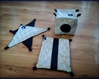 Small 4 piece set for rats, polar bear cotton, ferret accessories, sugar glider hammock, rat toys, rat cage accessories, pet lair, rodents
