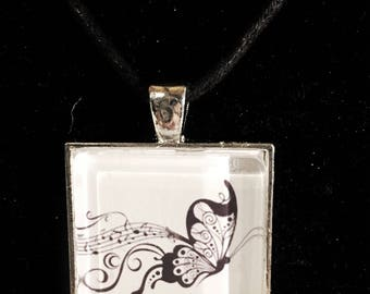 Musical butterfly silver square necklace