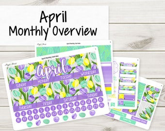 April Monthly Overview | Planner Stickers