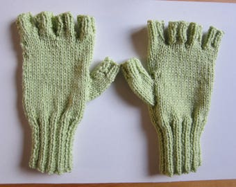 Light green hand-knitted mittens with five fingers