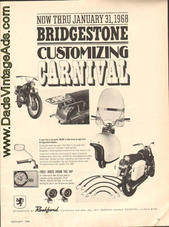 1968 Bridgestone Motorcycle Dealer Customizing Carnival Ad #e68ba03