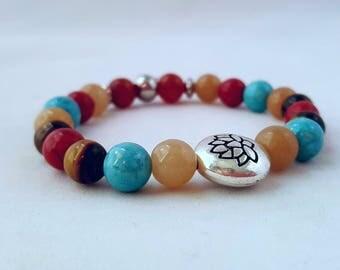 Mala bracelet/  stainless steel beads / Yoga bracelet/  boho /  beaded bracelet/ gemstone /wrist  bracelet/ stackable bracelet/ lotus flower