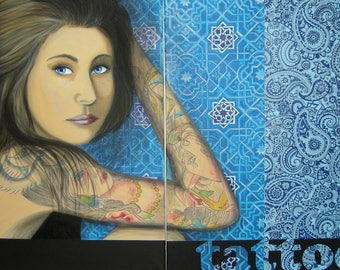 Tattoo-oil painting created two paintings side by side, 50x70cm