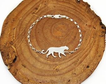 Panther bracelet.Sterling silver cat.Lion bracelet.Leopard bracelet.Panther charm.Panther jewelry.Lion jewelry.Cat bracelet.Wild cat.Cougar