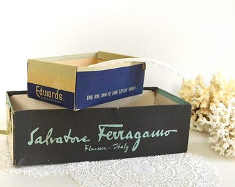 vintage shoe boxes Salvatore Ferragamo shoe box storage box Edwards shoe box