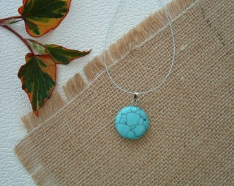 Round coin 20 mm synthetic TURQUOISE pendant