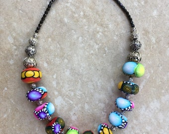 Vitamin and colorful necklace polymer clay