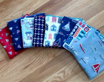 Nautical zip pouch / cosmetics pouch / makeup bag / zippered bag / nautical bag / cosmetics bag / small pouch / travel pouch / small clutch