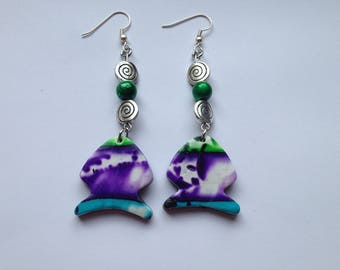 Purple, green and turquoise earrings in polymer clay