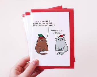 Cat Christmas Card / Cat Lady Card / Funny Christmas Card