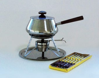 "Vintage Stainless Fondue Set, Eleven Pieces, Produced by International Silver, ""Decorator"" Pattern"