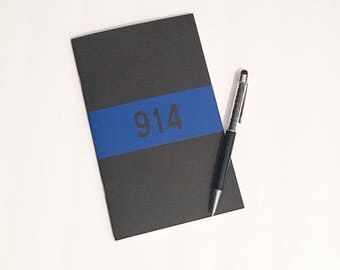 Thin Blue Line Notebook - Badge Number Personalization - Police Gift  - Thin Blue Line Collection