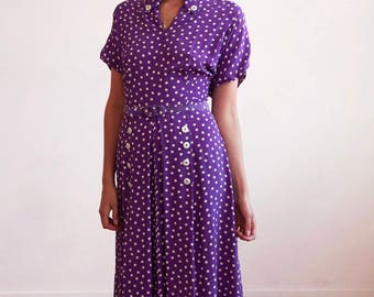 Early 1940s silk printed day dress Art Deco