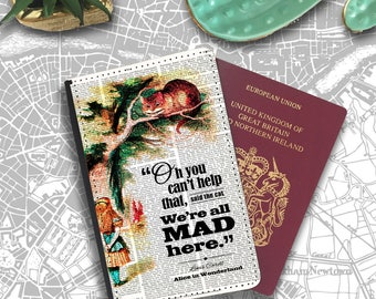 We All Mad Here Cheshire Cat Alice Wonderland  Passport Holder Travel Flip Cover Case PT114
