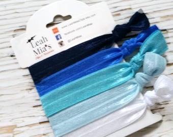 Shades of Blue Hair Ties Set of 5, Blue Toddler Hair Ties, Navy Hair Ties, Hair Accessories, Blue and White Hair Elastics, Fold over elastic