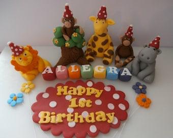 Safari animals,Lion,Giraffe,Monkeys,Hippo,name cubes,name plaque,cake topper,sugar paste decoration,boy,girl,kids,baby,birthday,edible