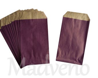 Set of 25 mini purple paper bags / Eggplant 7 x 11.5 cm