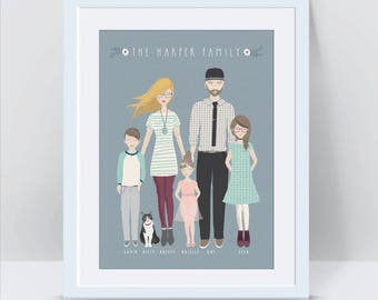 Custom Family Portrait, Anniversary Gifts for Men Family Portrait Illustration Custom Illustrated Family Portrait Mothers Day Gift Cartoon